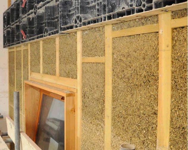 Ściana z betonu konopnego